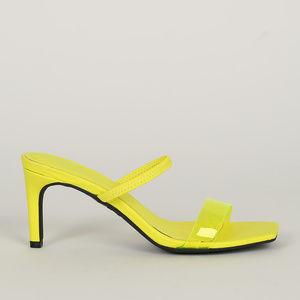Blogger Babe - Neon Yellow Transparent Strap Heels